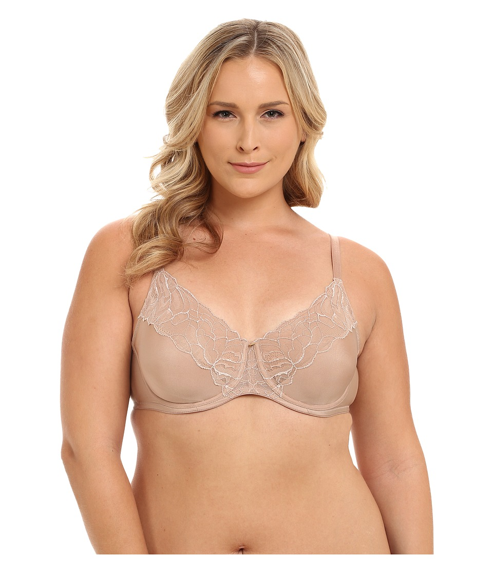 Natori - Satin Fleur Full Figure Unlined Underwire Bra (Buff) Women's Bra