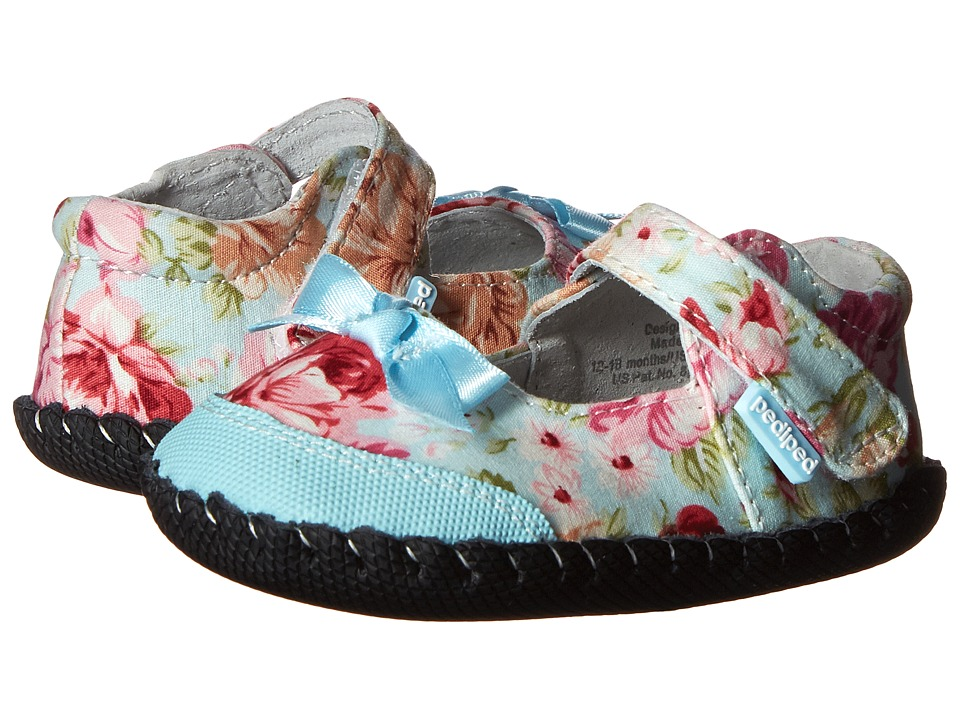 pediped - Louisa Originals (Infant) (Blue Floral) Girls Shoes