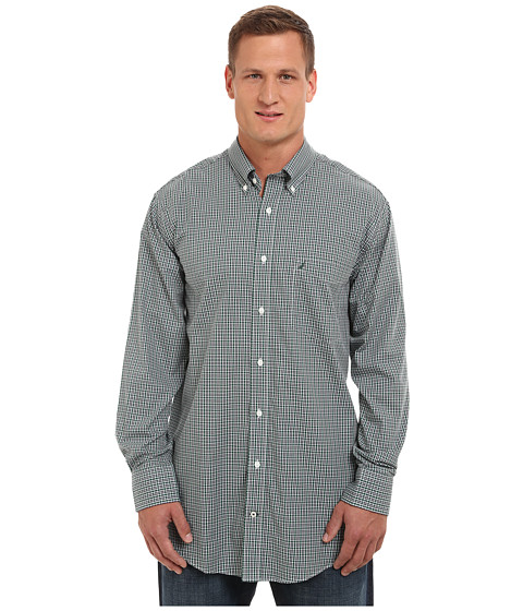 Nautica Big & Tall - Big Tall Mini Plaid Cotton Tencel Wrinkle Resistant Long Sleeve (Hunter Green) Men's Clothing