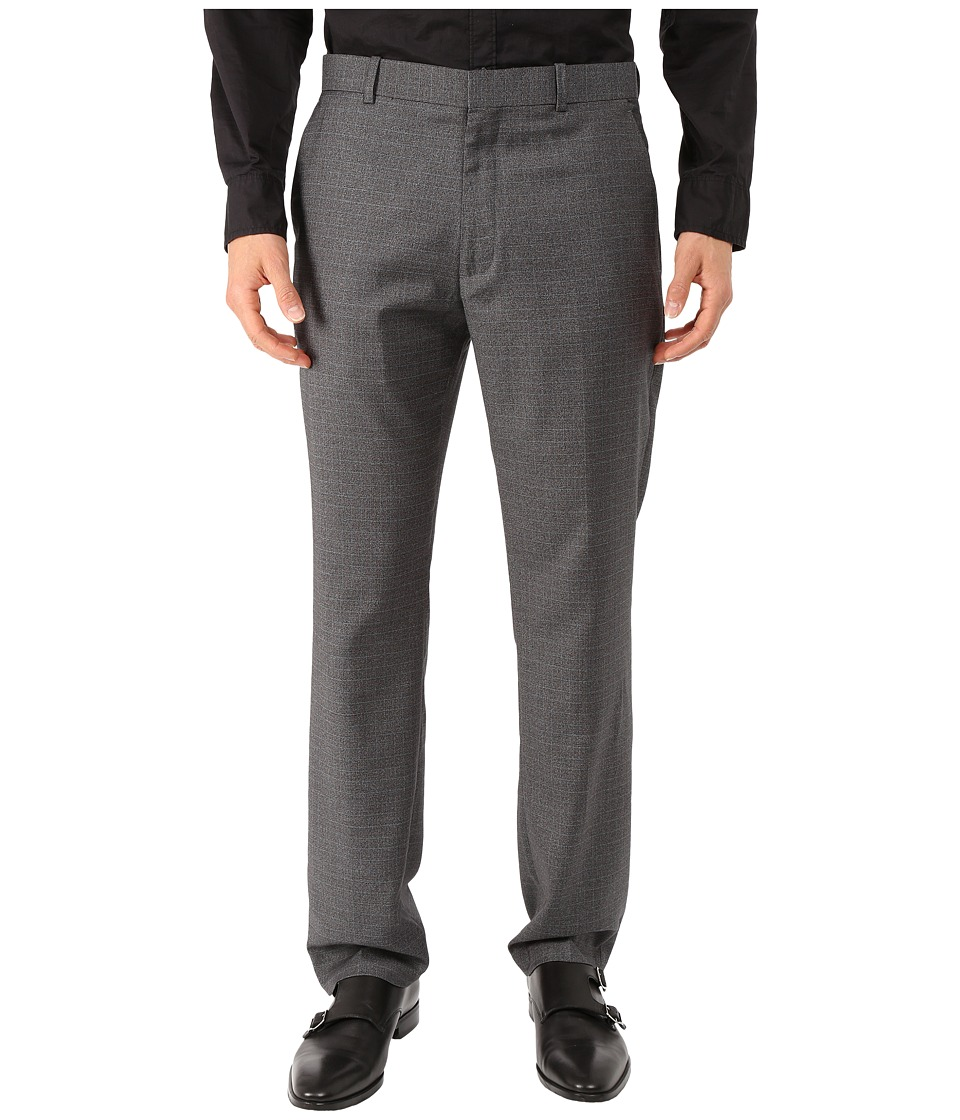 Perry Ellis Portfolio - Slim Fit Subtle Heather Plaid (Charcoal) Men's Dress Pants