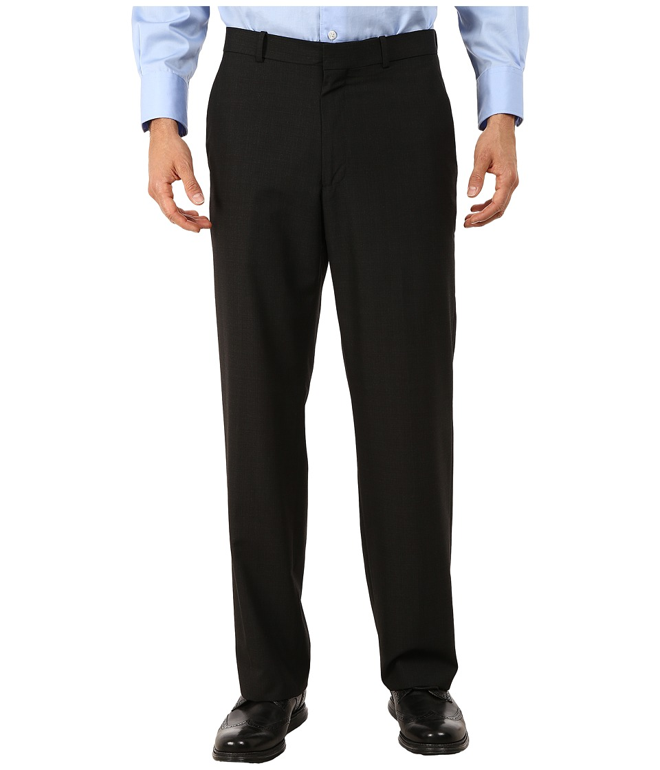 Perry Ellis Portfolio - Classic Fit Small Subtle Plaid Pants (Black) Men's Dress Pants