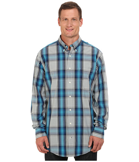 Nautica Big & Tall - Big Tall Poplin Large Plaid (Radial Grey) Men