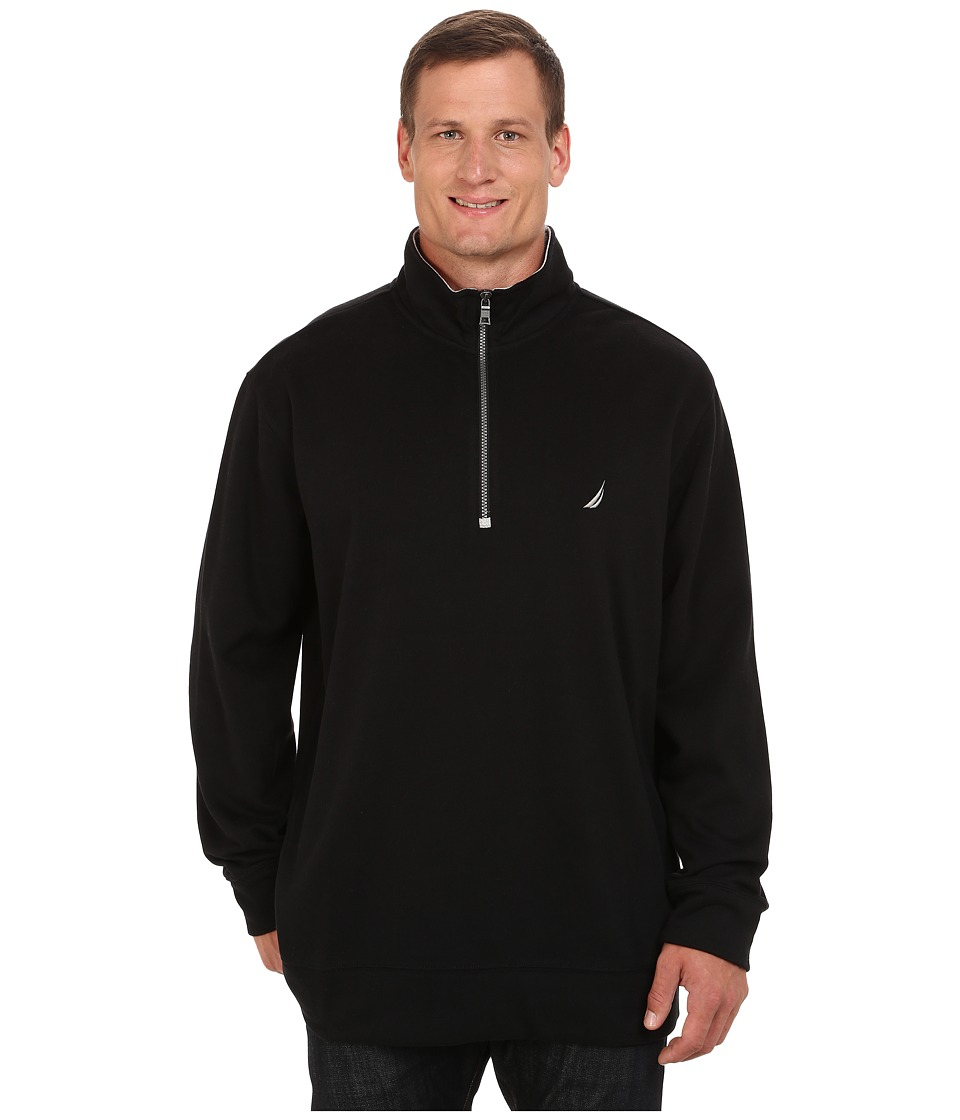 Nautica Big & Tall - Big Tall 1/4 Zip Pullover (True Black) Men's Sweater