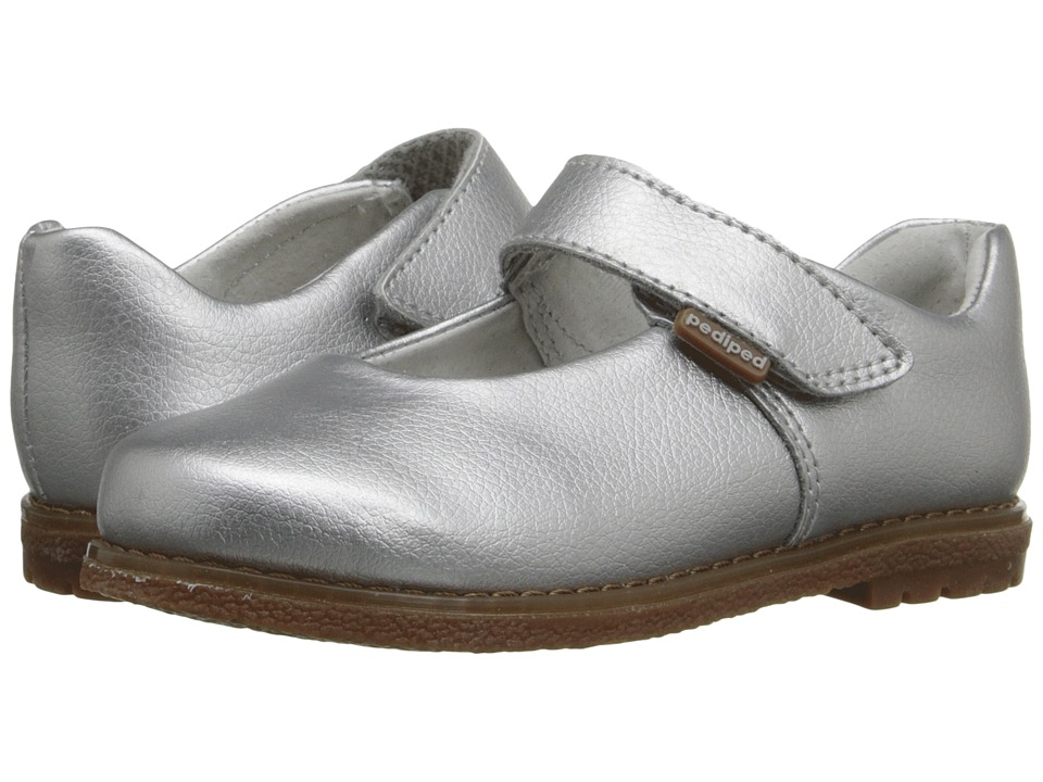 pediped Ann Flex (Toddler/Little Kid) (Silver) Girls Shoes