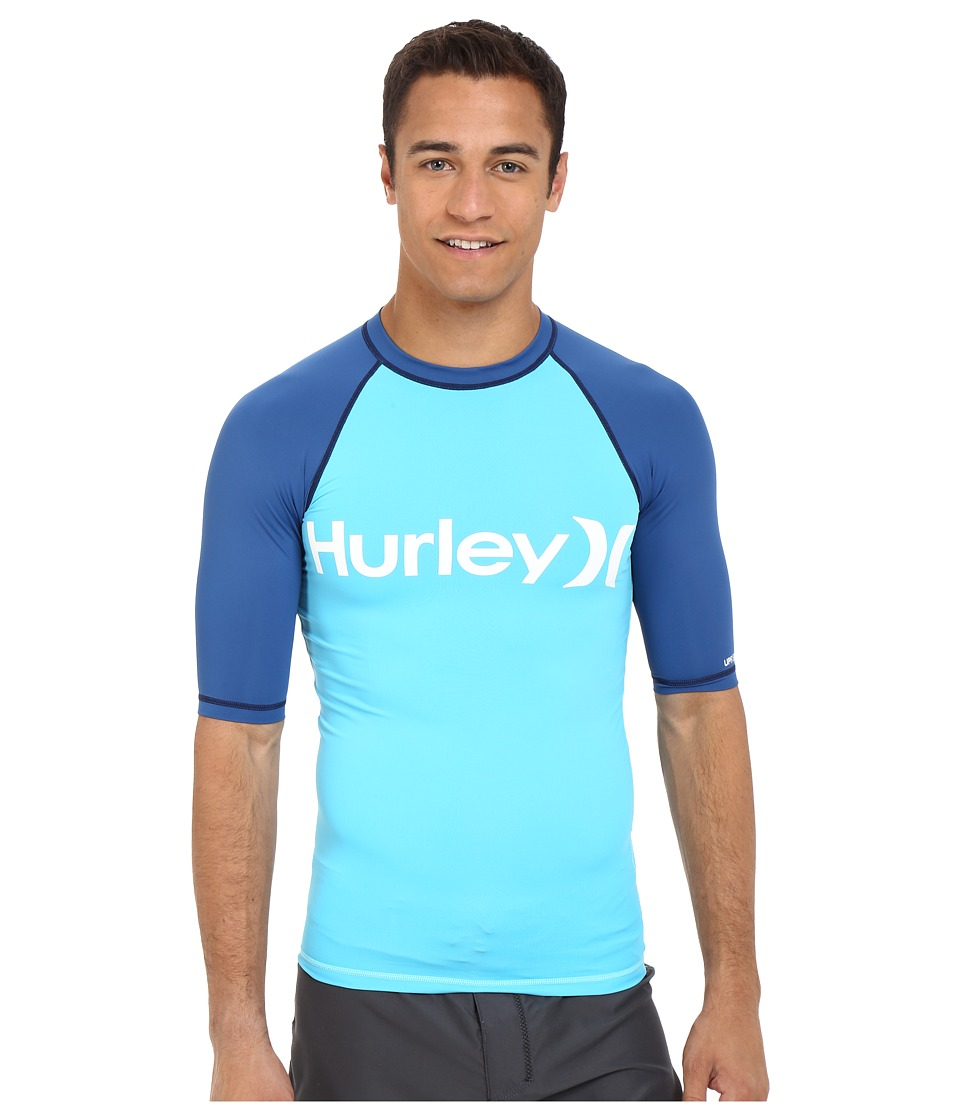 Hurley - One Only Short Sleeve Rashguard (Beta Blue) Men's Swimwear
