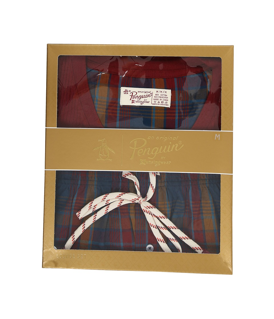 Original Penguin - Long Sleeve Ribbed Top/Woven Bottom (Pomegranate/Poseidon) Men's Pajama Sets