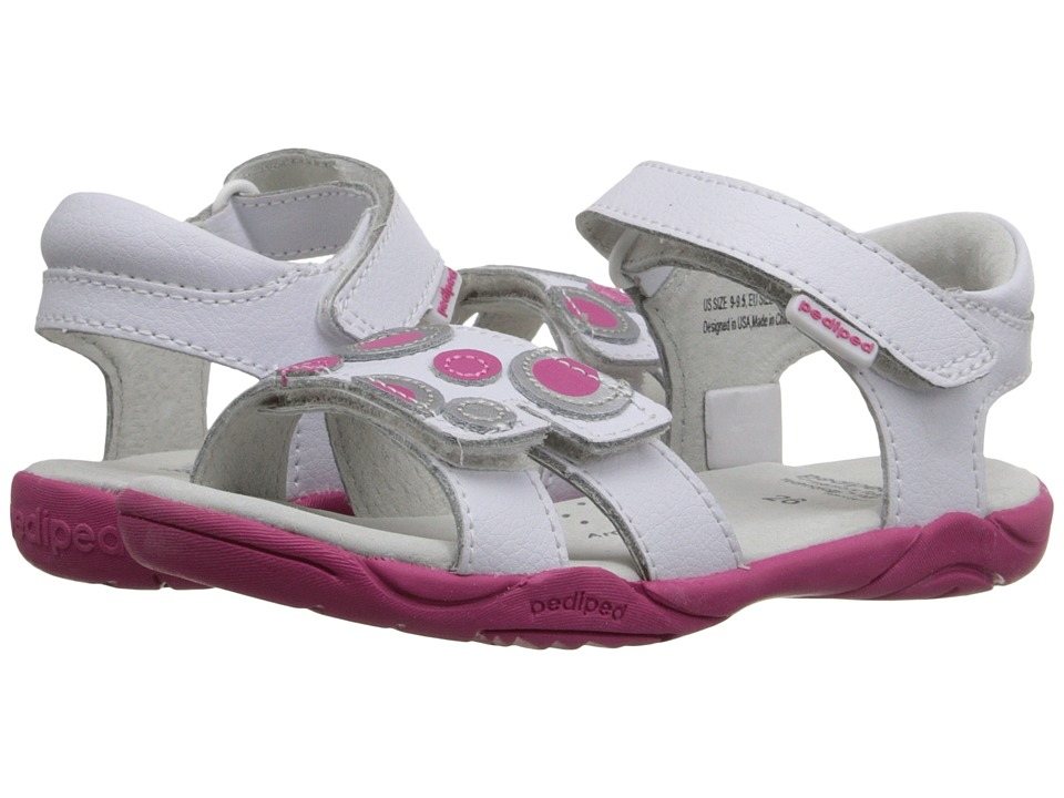 pediped - Jacqueline Flex (Toddler/Little Kid) (White/Fuchsia) Girls Shoes