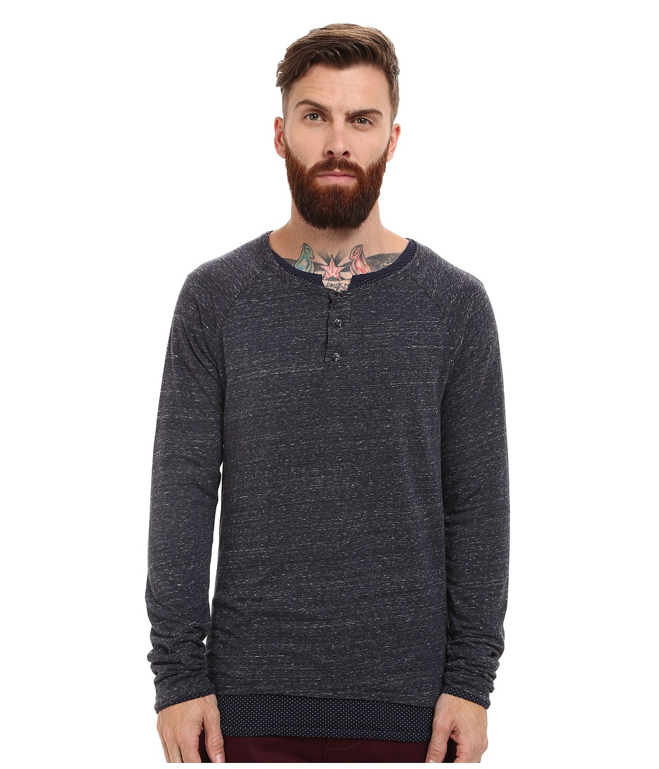Scotch & Soda - Long Sleeve Henley with Inner Tee (Denim Blue Melange) Men's T Shirt