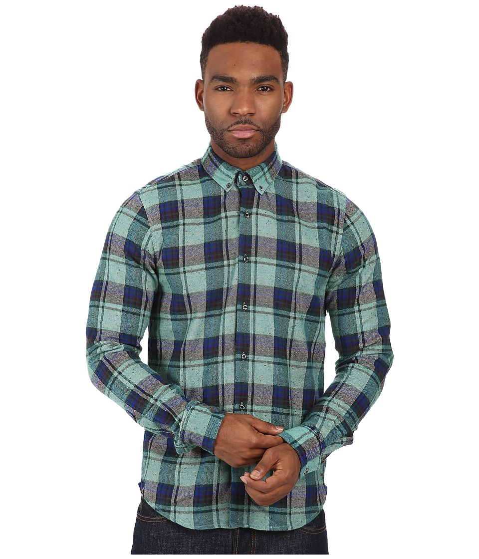 Scotch & Soda - Brushed Flannel Check Long Sleeve Shirt (Green) Men's Long Sleeve Button Up