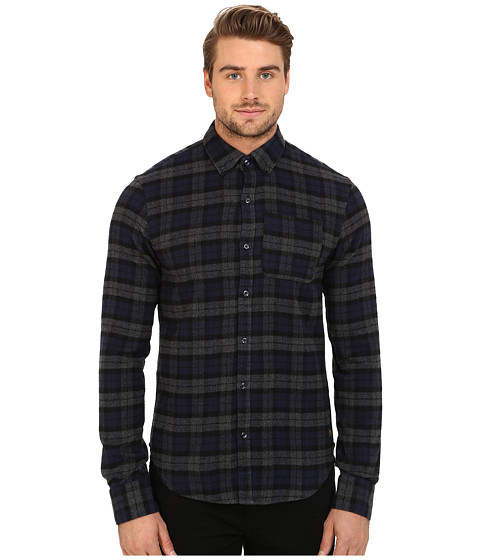 Scotch & Soda - Long Sleeve Brushed Cotton Shirt (Navy/Grey) Men's Clothing