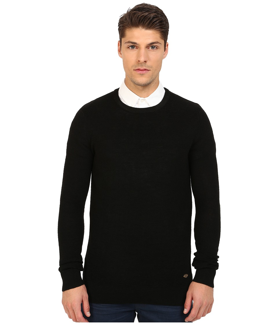 Scotch & Soda - Crew Neck Ribbed Knit Pullover (Black) Men's Sweater