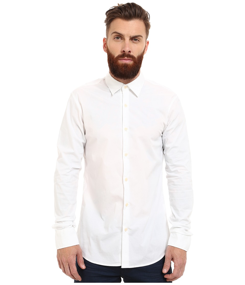 Scotch & Soda - Classic Long Sleeve Shirt in Crispy Cotton (White) Men's Clothing