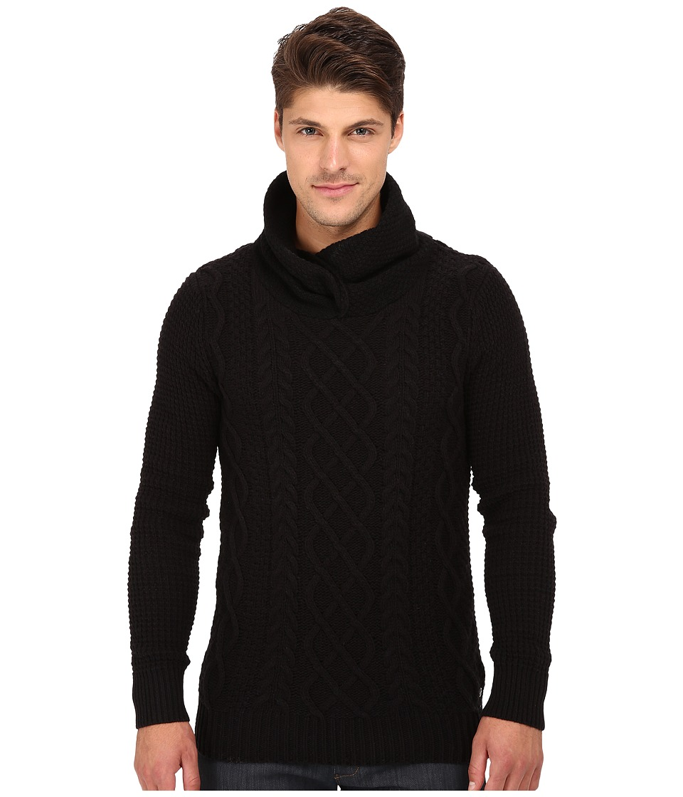 Scotch & Soda - Twisted Hooded Yarn Pullover (Black) Men's Sweater