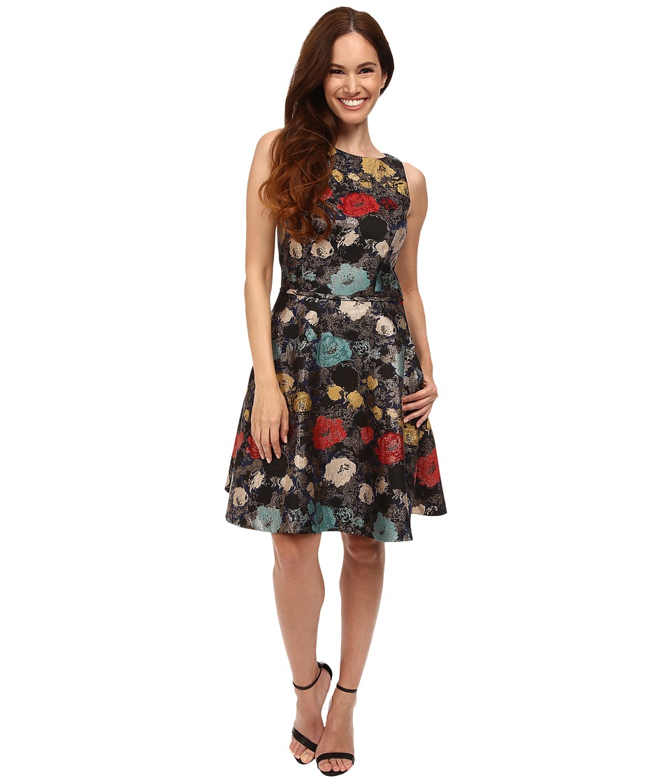 Tahari by ASL Petite - Petite Metallic Floral FF (Navy/Tomato/Aqua) Women's Dress