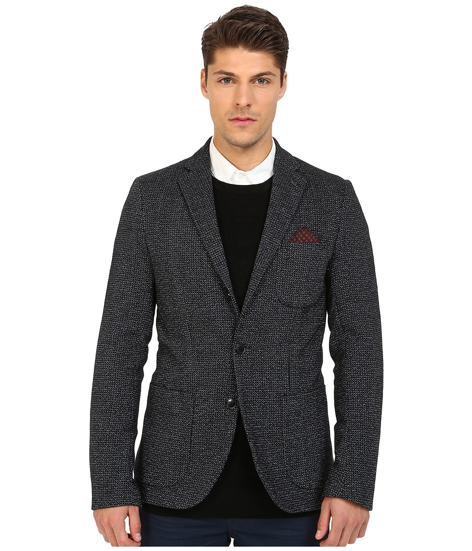 Scotch & Soda - Woolen Blazer with Printed Lining (Black/Blue) Men's Jacket