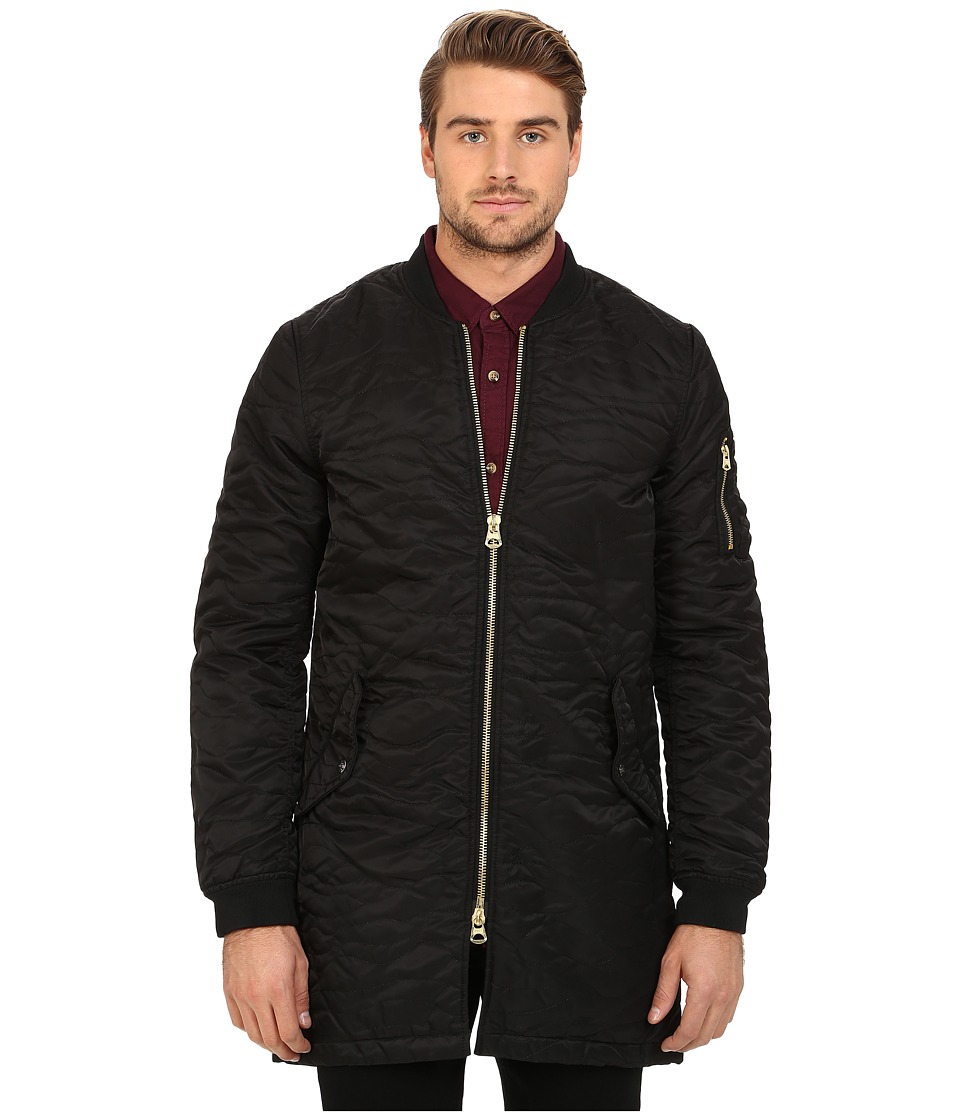 Scotch & Soda - Quilted Long Bomber Jacket (Black) Men's Coat
