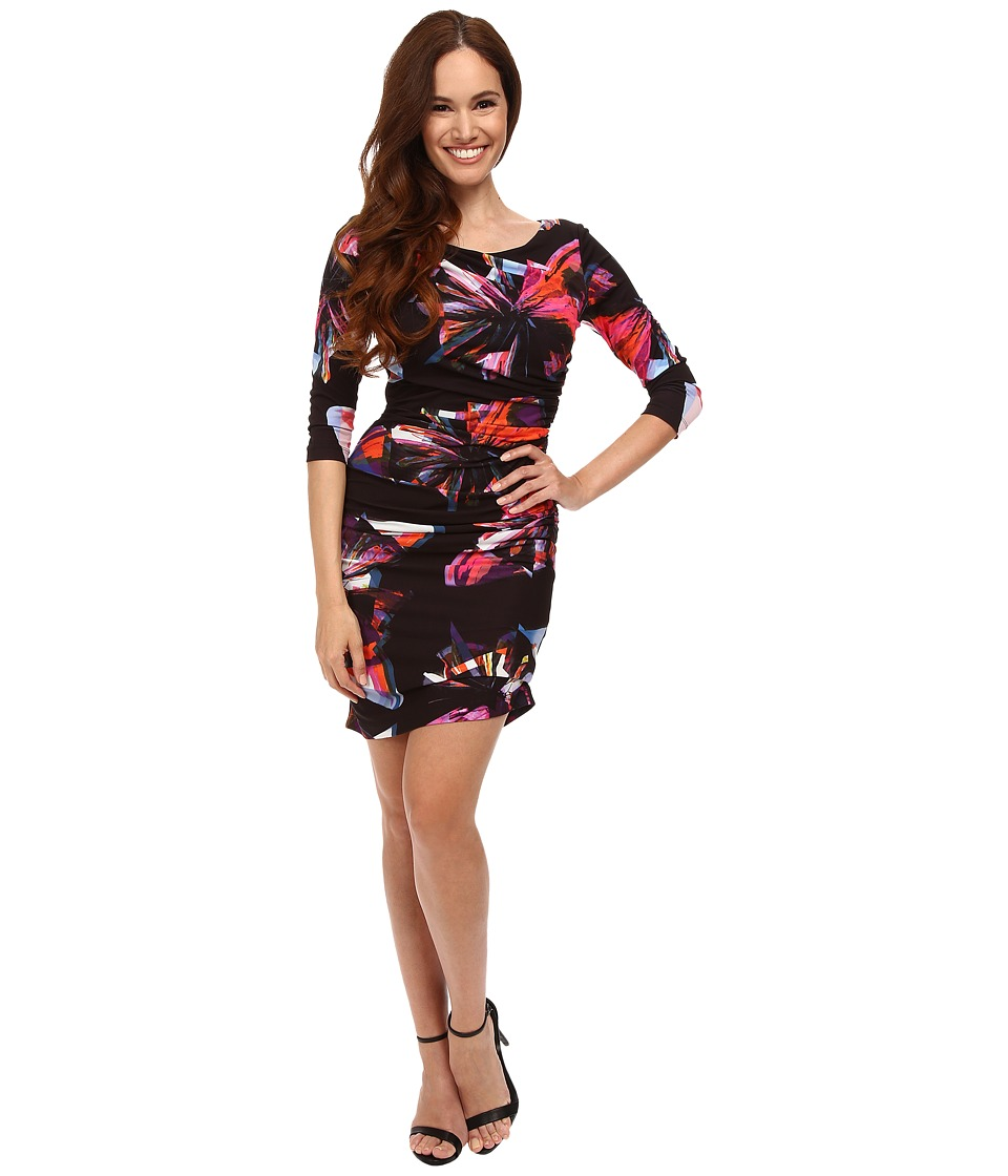 Tahari by ASL Petite - Petite Matte Jersey Butterfly Print (Black/Magenta/Orange) Women's Dress
