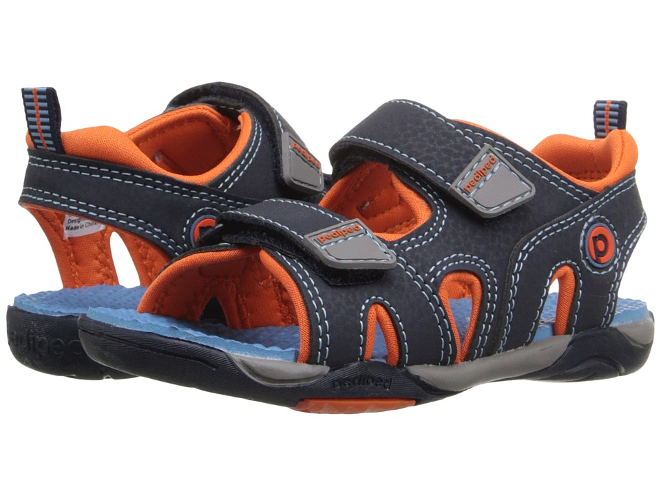 pediped - Navigator Flex (Toddler/Little Kid) (Navy/Orange) Boys Shoes