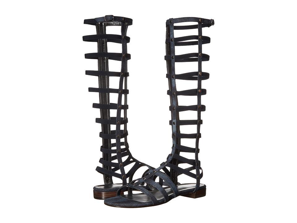 Stuart Weitzman Gladiator Navy Antique Denim Womens Sandals