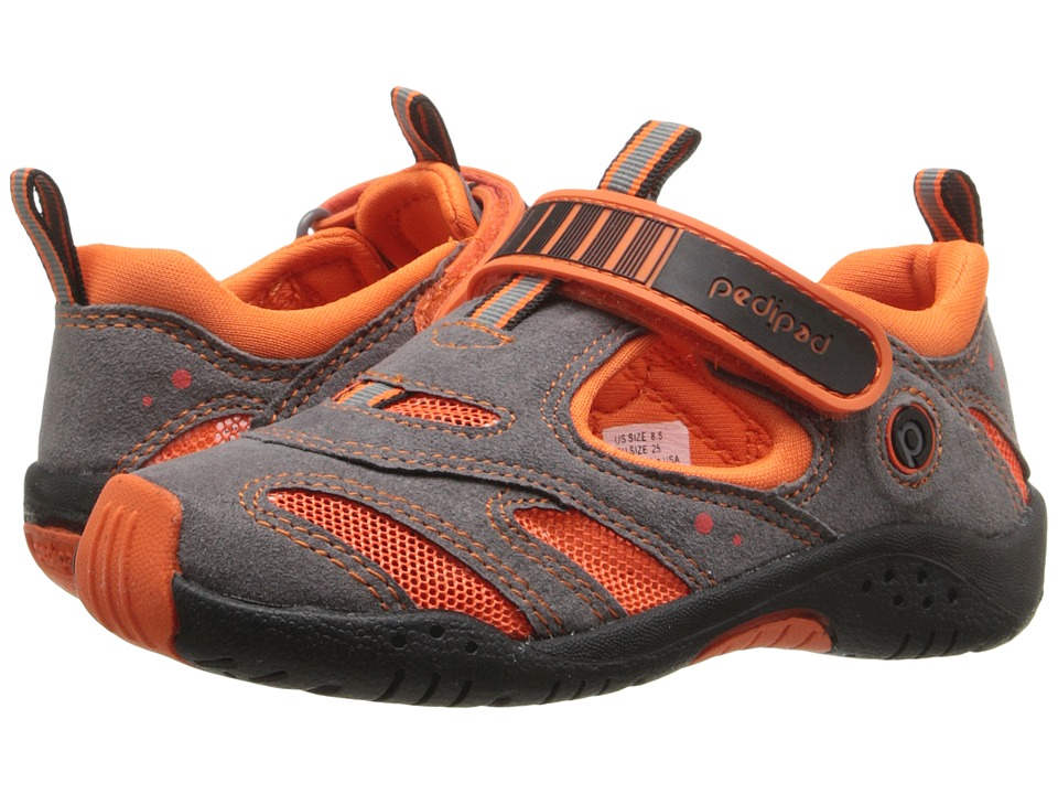 pediped - Stingray Flex (Toddler/Little Kid) (Grey/Orange) Boys Shoes