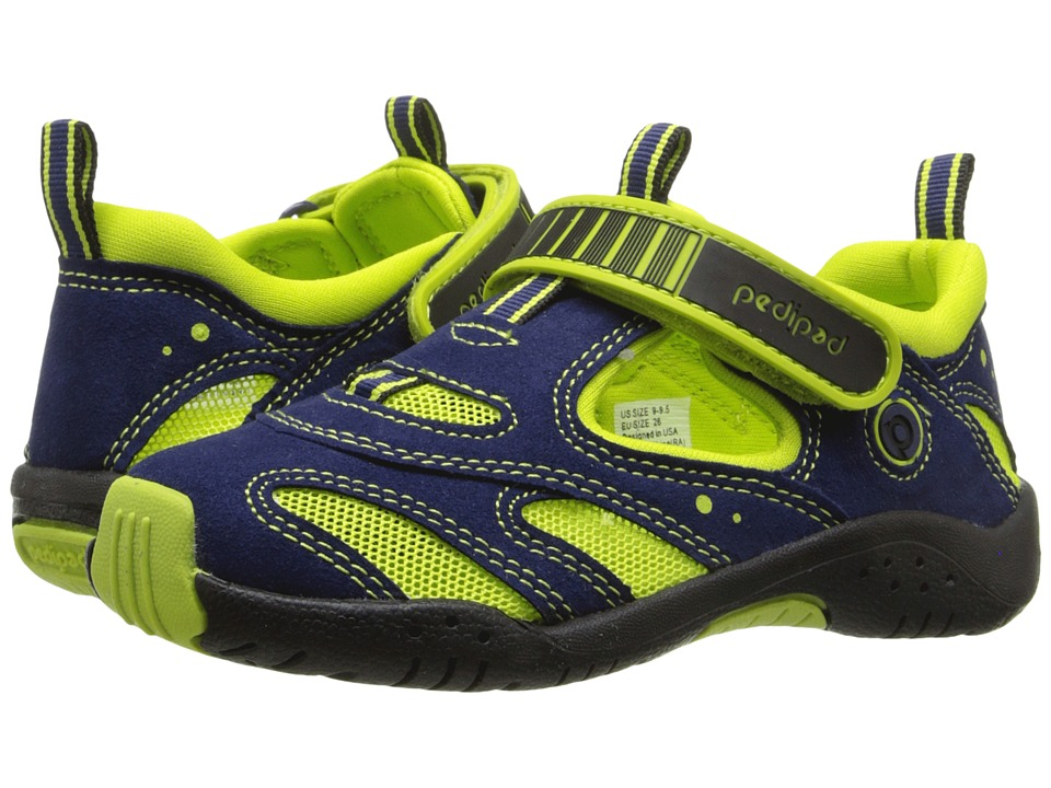 pediped - Stingray Flex (Toddler/Little Kid) (Blue/Lime) Boys Shoes