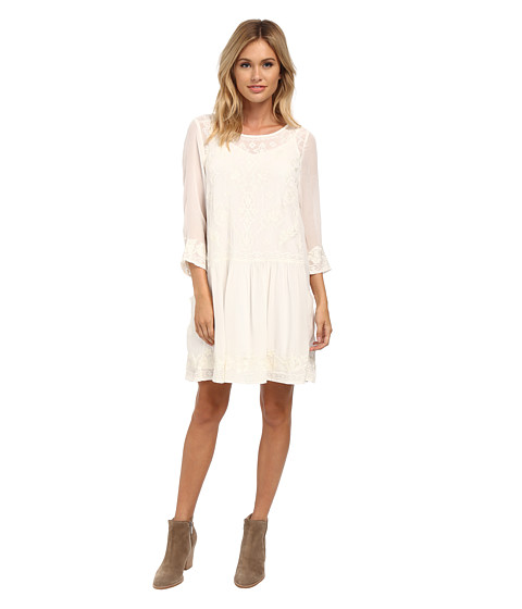 Velvet by Graham & Spencer - Annmarie 3/4 Sleeve Dress (Cream) Women