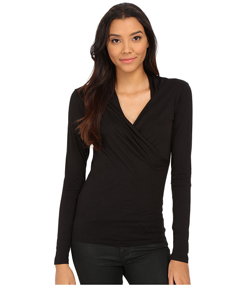 Velvet by Graham & Spencer - Meri Long Sleeve Wrap Top (Black) Women's Clothing