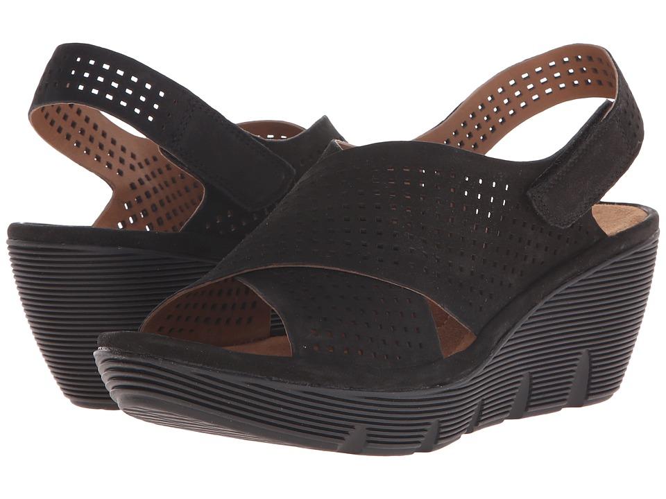 Clarks - Clarene Award (Black Nubuck) Women's Wedge Shoes