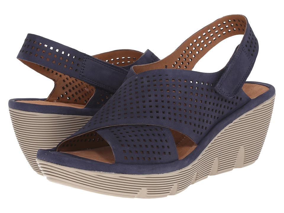 Clarks - Clarene Award (Navy Nubuck) Women's Wedge Shoes