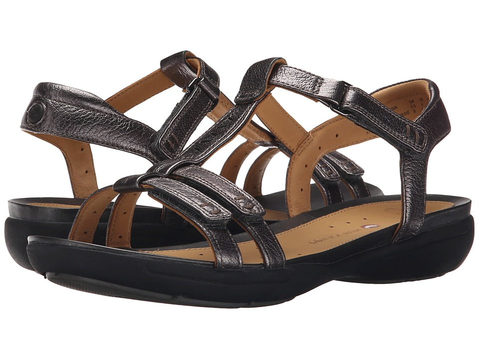 Clarks - Un Vaze (Pewter Metallic Leather) Women's Sandals