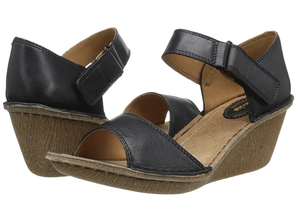 Clarks - Orient Sea (Black Leather) Women's Wedge Shoes