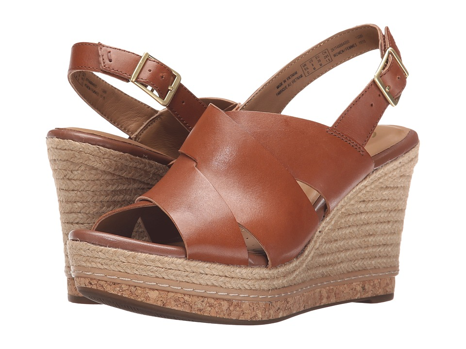 Clarks - Amelia Dally (Nutmeg Leather) Women's Wedge Shoes
