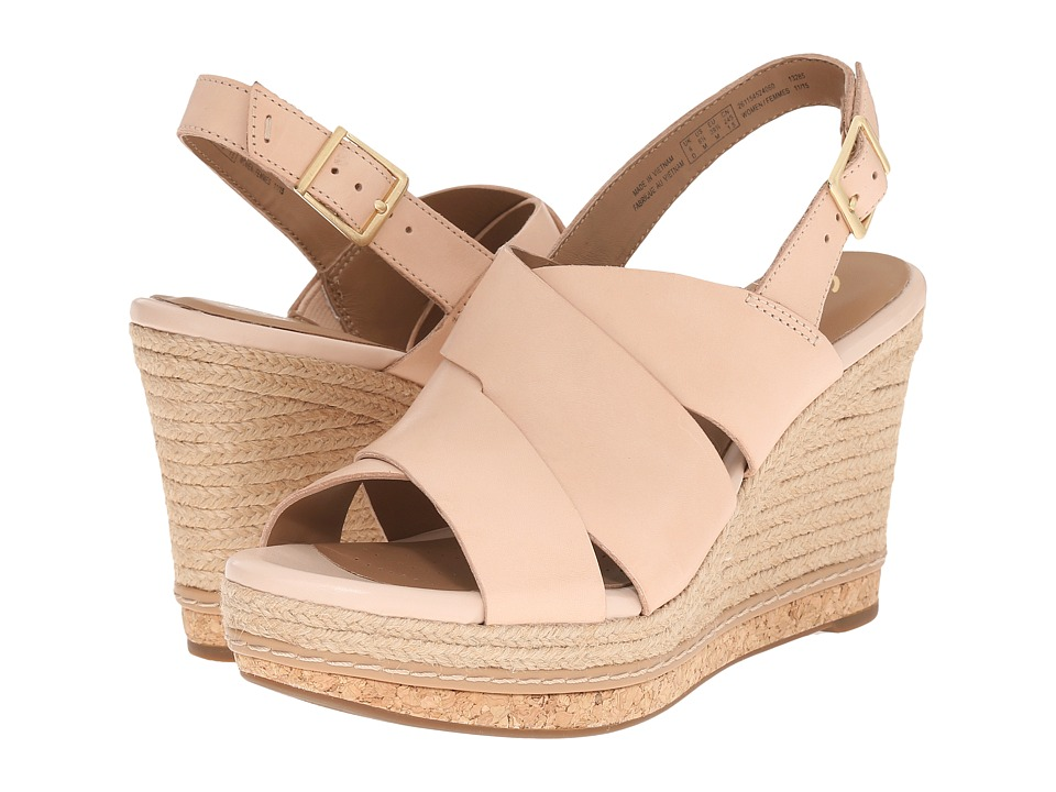 Clarks - Amelia Dally (Nude Leather) Women's Wedge Shoes
