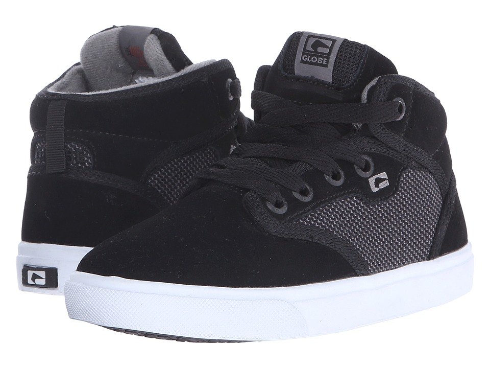 Globe - Motley Mid (Little Kid/Big Kid) (Black Suede/Woven) Men's Skate Shoes