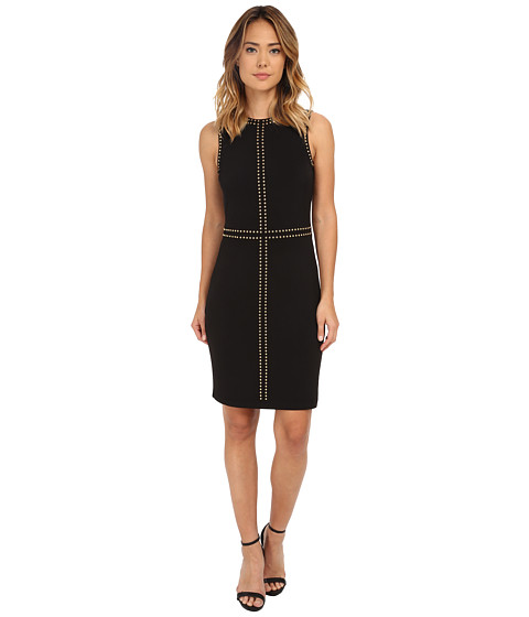 Calvin Klein - Jersey Sheath Dress with Hot Fix (Black) Women's Dress