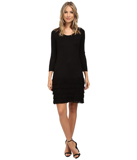 Calvin Klein - 3/4 Sleeve Fringe Dress (Black) Women's Dress
