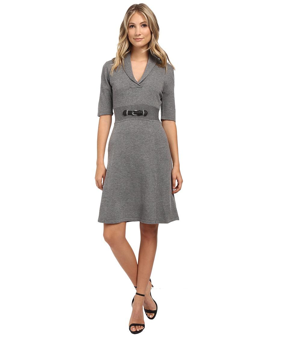 Calvin Klein - Short Sleeve Fit Flair Dress (Tin) Women's Dress