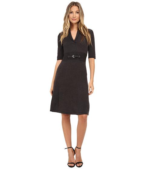 Calvin Klein - Short Sleeve Fit Flair Dress (Charcoal) Women
