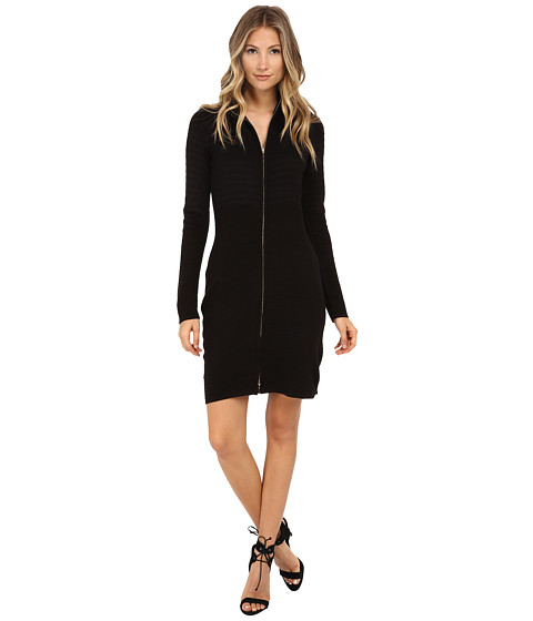 Calvin Klein - Zip Front Sweater Dress (Black) Women