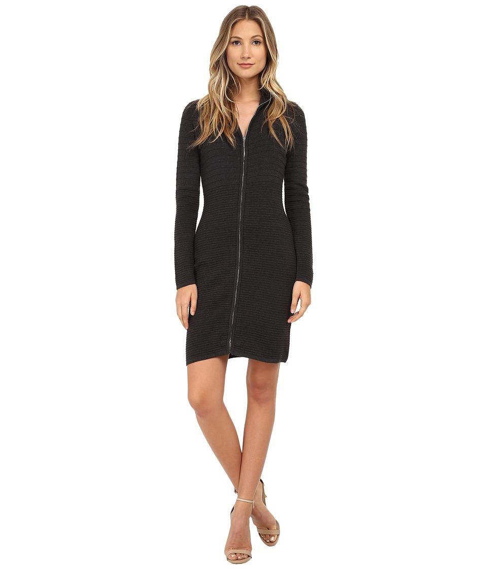 Calvin Klein - Zip Front Sweater Dress (Charcoal) Women's Dress
