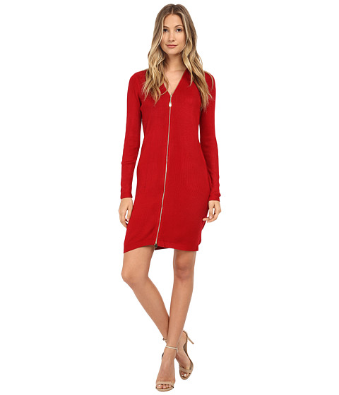 Calvin Klein - Long Sleeve Zipper Front Sheath Dress (Red) Women