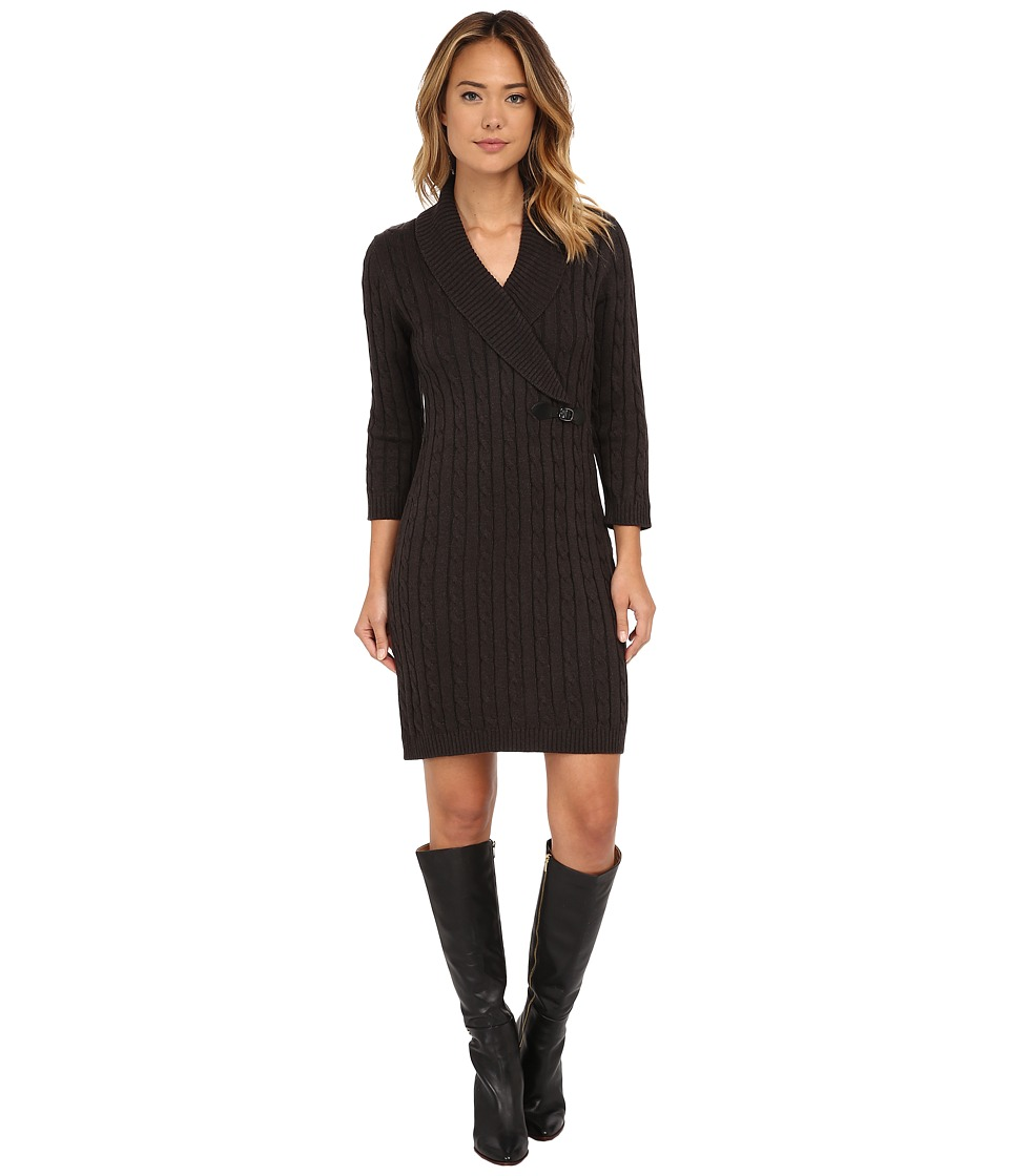 Calvin Klein - Cable Knit Sheath Dresss (Charcoal) Women