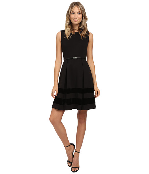Calvin Klein - Fit Flare Dress with Velvet Bottom (Black) Women