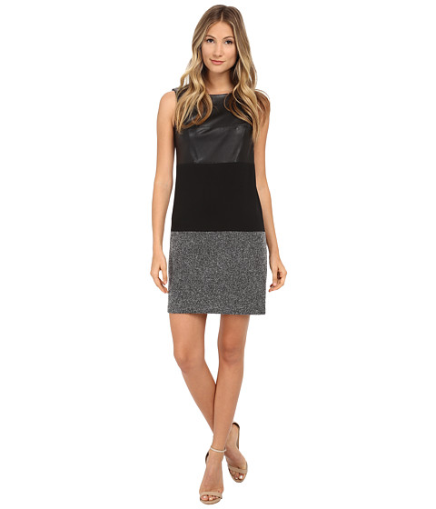 Calvin Klein - Mix Media Sheath Dress (Black Multi) Women