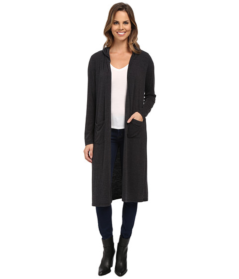 Allen Allen - Hooded Open Long Cardigan (Black) Women
