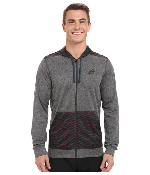 adidas - Go To Radiant Full Zip Hoodie (Dark Grey/Midnight Blue) Men's Sweatshirt