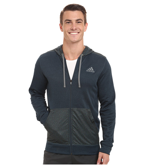 adidas - Go To Radiant Full Zip Hoodie (Midnight Blue/Green) Men