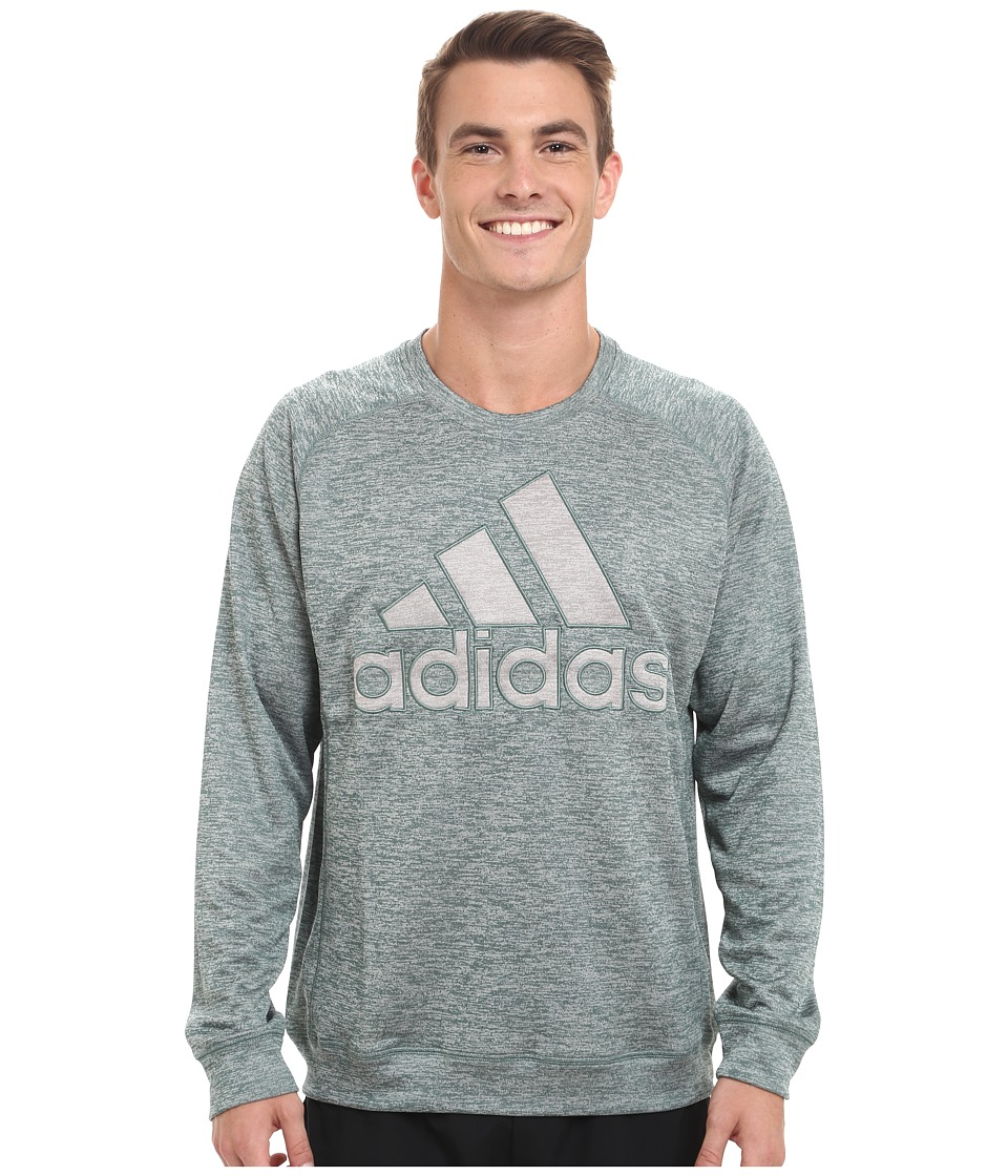 adidas - Team Issue Lightweight Fleece Crew (Green/Grey Heather) Men's Fleece