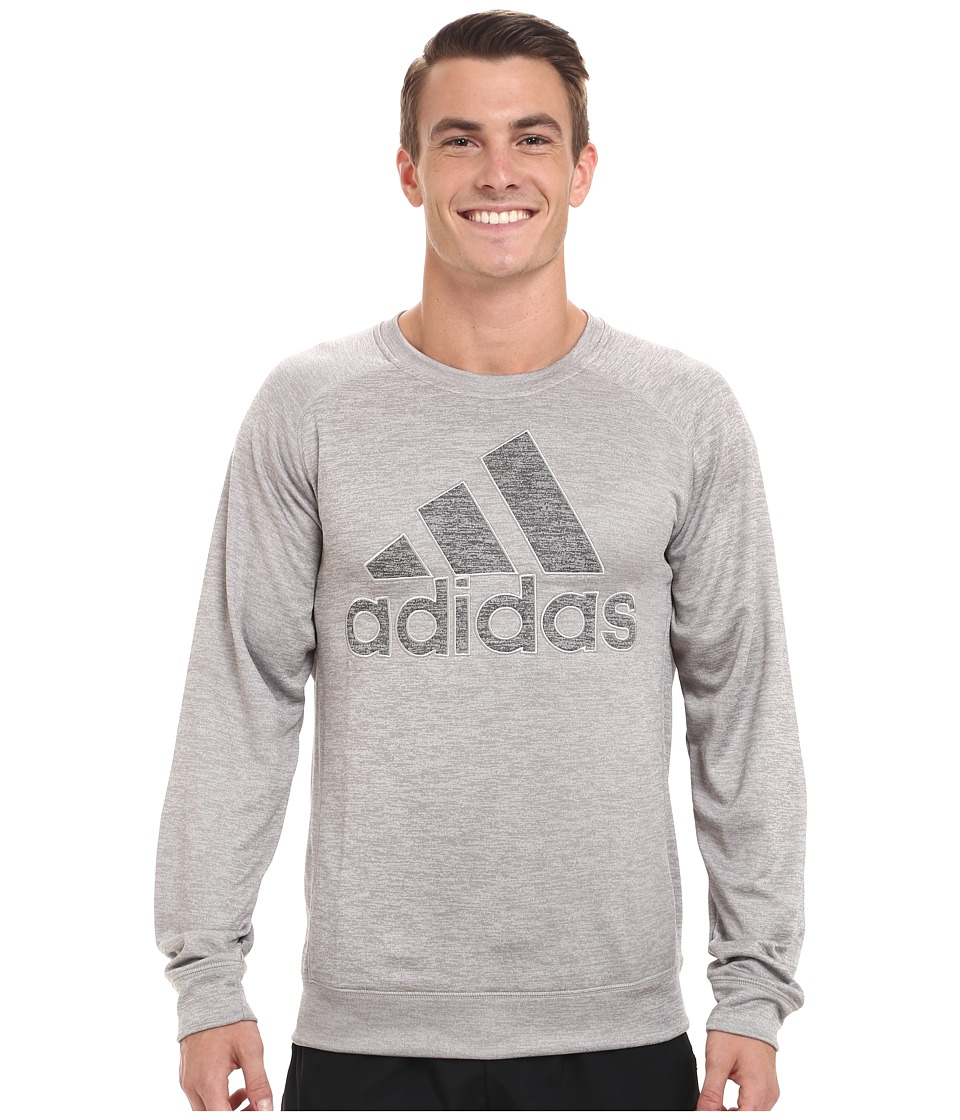 adidas - Team Issue Lightweight Fleece Crew (Medium Grey Heather) Men's Fleece