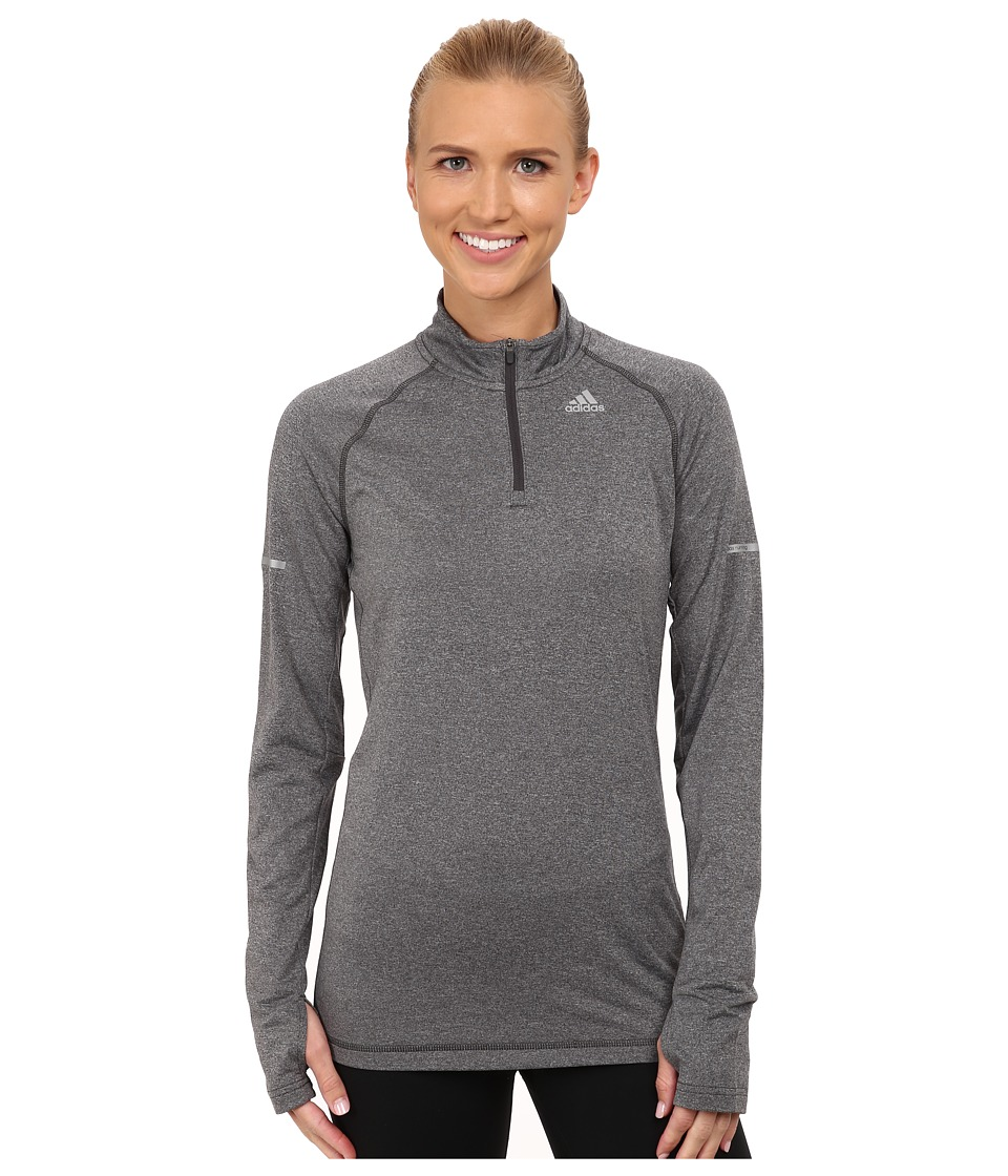 adidas - Sequentials Half Zip Long Sleeve Tee (Dark Grey) Women